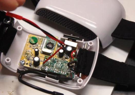 Mind Flex hacked serial pins soldered wires