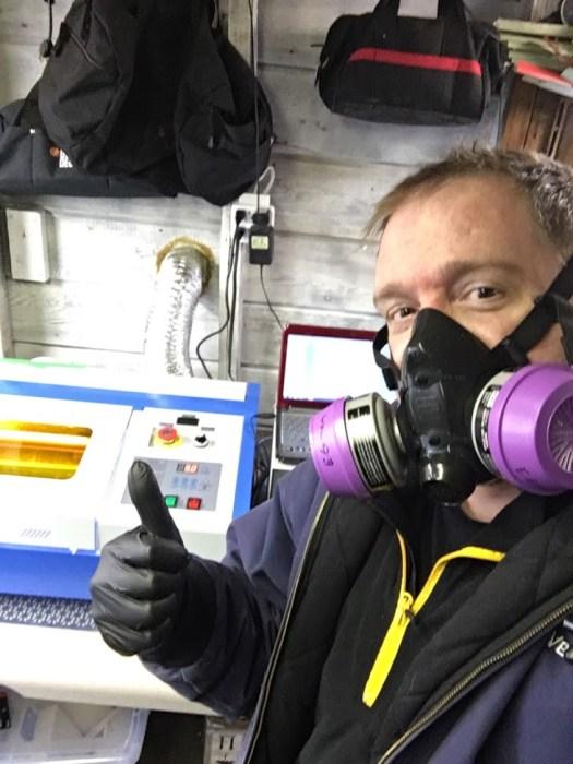 Eric German Goderich cutting DIY Covid-19 face shields