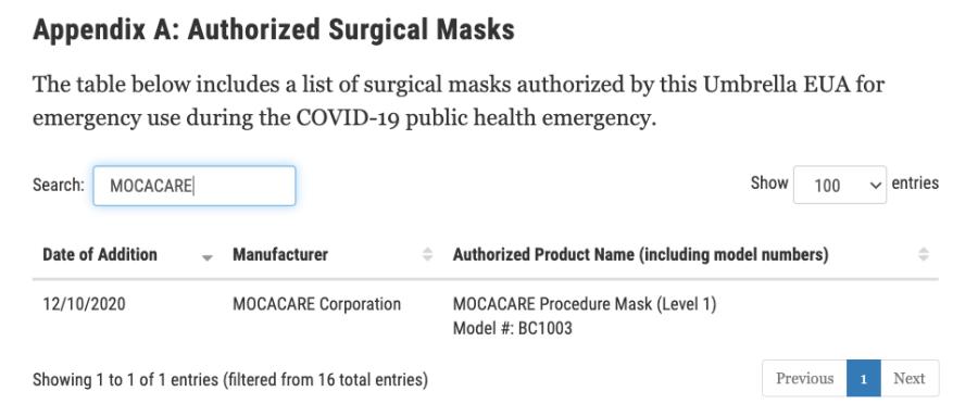 ASTM masks certification of MOCACARE
