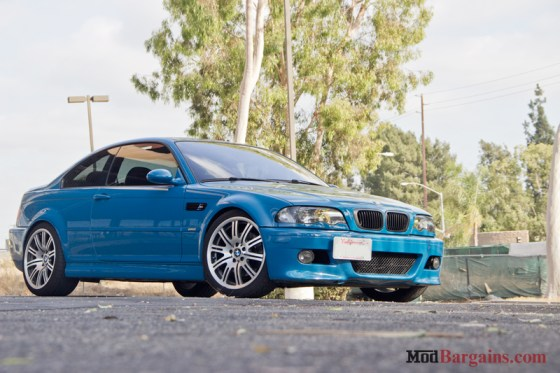 Laguna Seca Blue BMW E46 M3 Side Front Silver Wheels