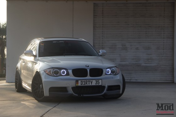 Silver BMW 135i Angel Eyes