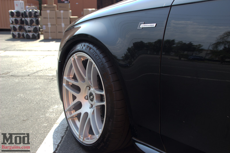 Black Audi S4 Forgestar F14s in Silver Front Fender