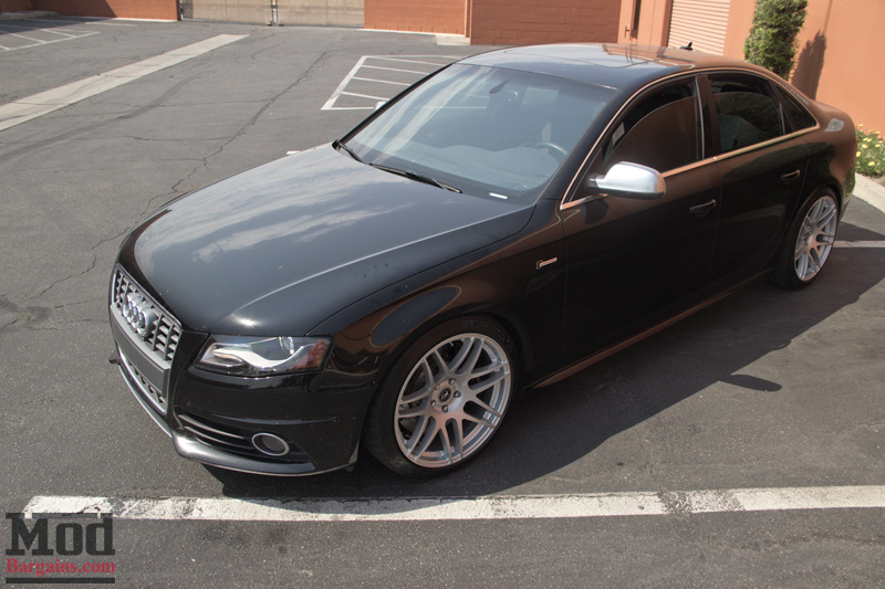 Black Audi S4 Hood on Forgestar F14s in Silver Front Top view