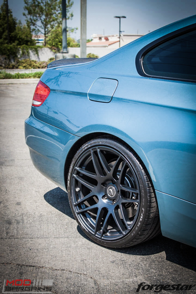 BMW E92 335i Atlantis Blue Forgestar F14 Matte Black 19-2