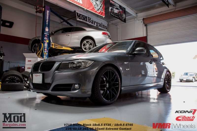 Gray BMW E90 328i Black Wheels