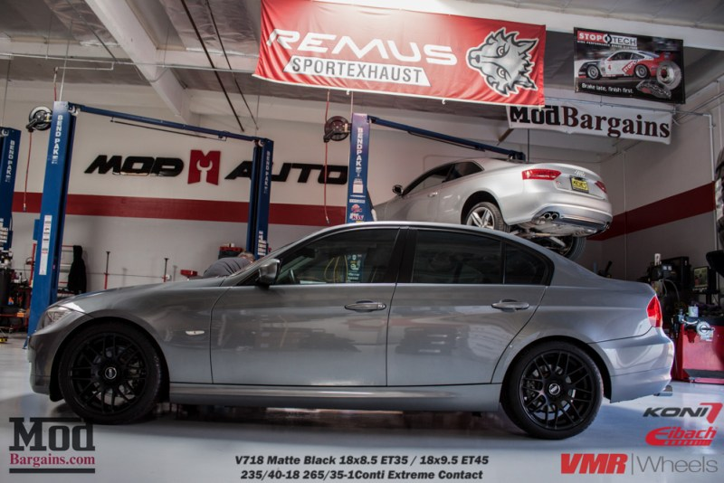 Gray BMW E90 328i Black VMR Wheels