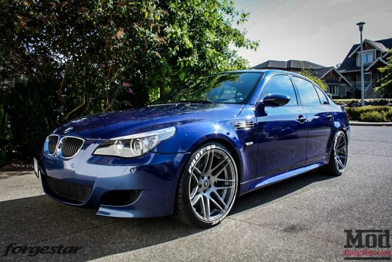 BMW E60 M5 Blue Forgestar F14 20x95et9 20x11et29 SDC-2