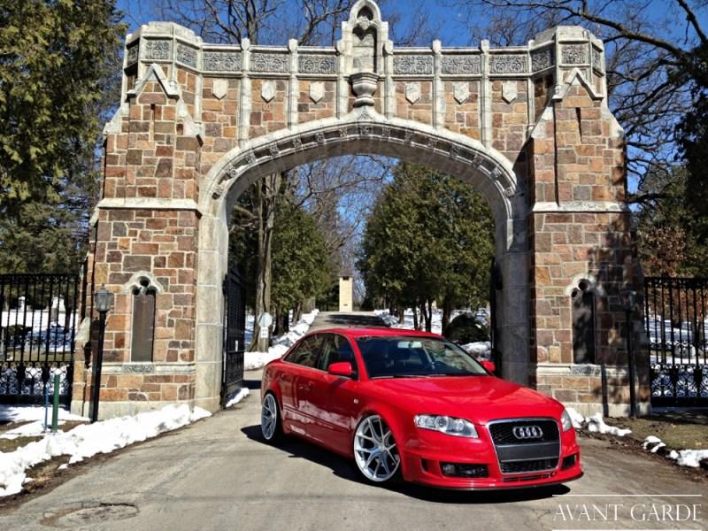 Audi A4 B7 Red - 19x9.5 19x9.5 Satin Silver Avant Garde M580 img002