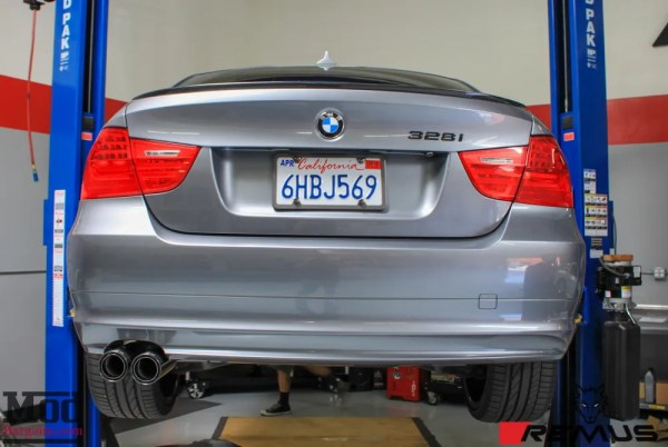 Product Spotlight: Sexy CF-Trimmed E90 BMW 328i Exhaust By Remus Installed @ ModAuto
