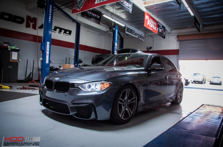 bmw f30 328i gets aggro with m3 bumper & awe quad exhaust
