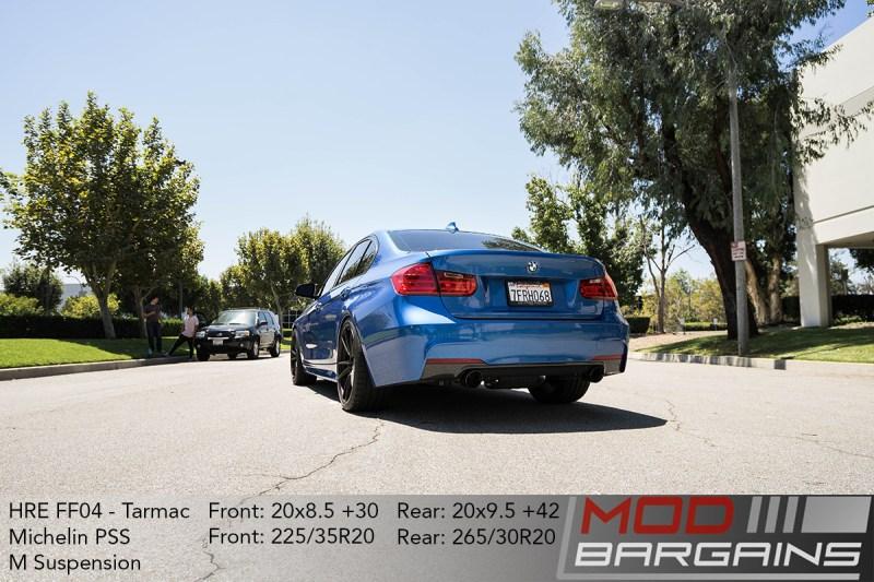 BMW F30 335i Estoril Blue HRE FF04 tarmac black