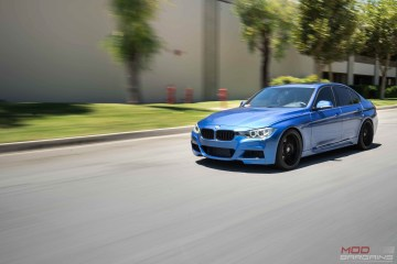 BMW F30 335i Estoril Blue HRE FF04 tarmac black