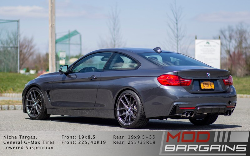 BMW 428i rear with m-sport bumper quad tip carbon fiber diffuser and quad tip exhaust
