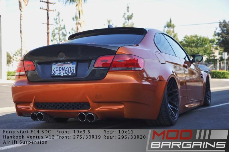 E92 M3, Rear end, Carbon Fiber, Forgestar, Bagged, Borla exhaust