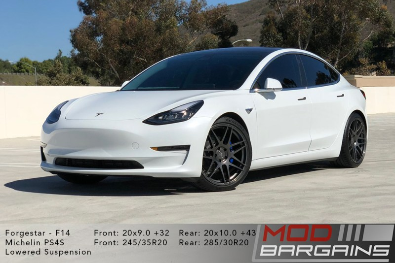 Tesla Model 3 on Forgestar F14 20x9 +32 front and 20x10 +43 rear