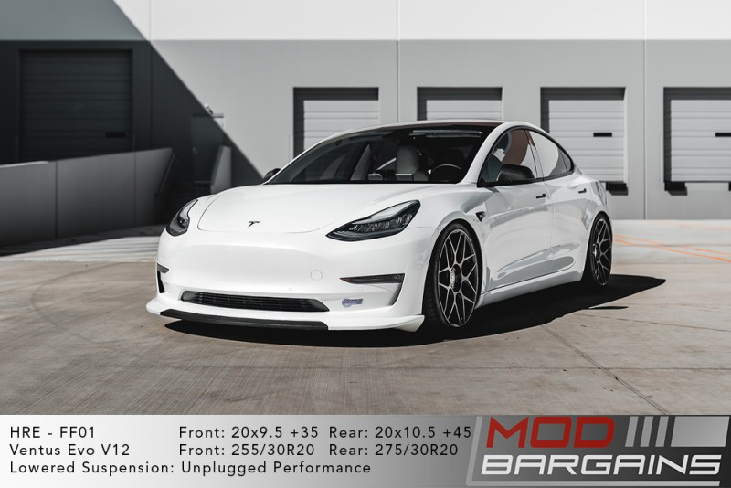 Tesla Model 3 on HRE FF01 20x9.5 +35 front and 20x10 +45 rear