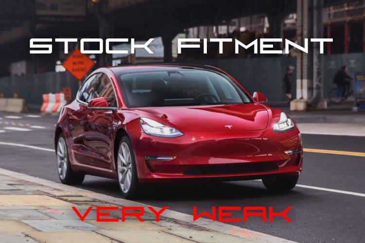 Tesla Model 3 stock wheel fitment - Very Weak