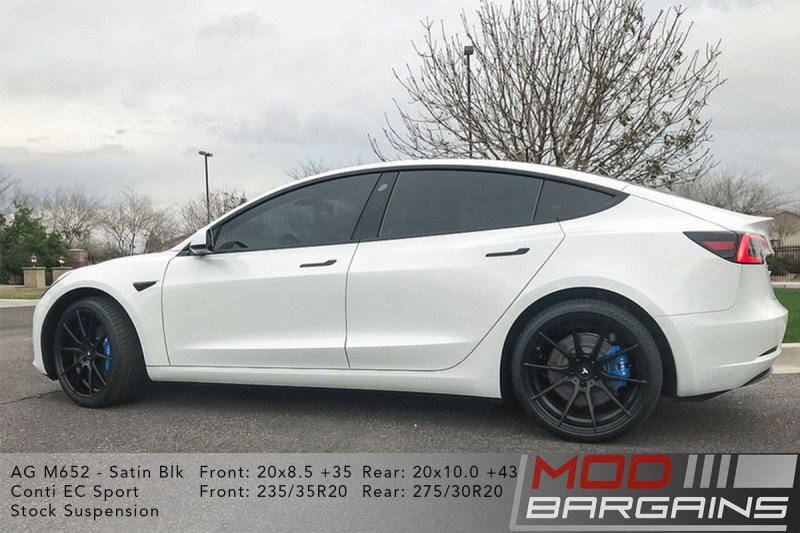 White Tesla Model 3 on Avant Garde (AG) M615 20x8.5 +35 front and 20x10 +43 rear