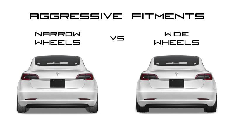 Tesla Model 3 Aggressive Fitment Example Narrow vs Wide Wheels