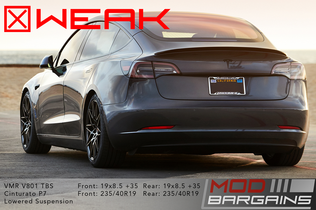 Tesla Model 3 19x8.5 +35 square weak fitment