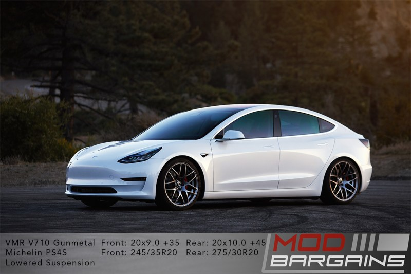 White Tesla Model 3 on VMR V710 Wheels 20x9 +35 front 20x10 +45 rear