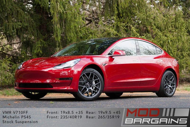 Red Tesla Model 3 on VMR V710FF 19x8.5 +35 front and 19x9.5 +45 rear