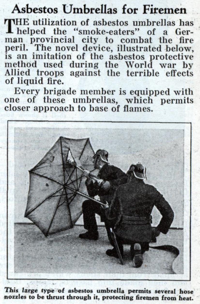 Asbestos Umbrellas For Firemen Modern Mechanix