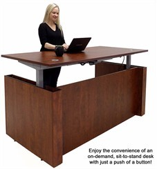 a woman enjoying the benefits of a standing desk