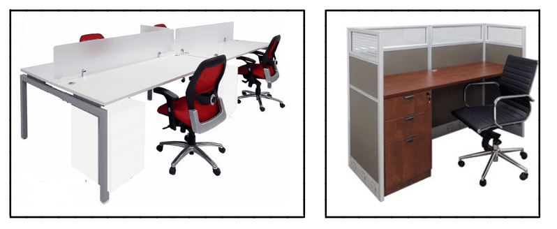 Benching workstations and cubicle desk side by side