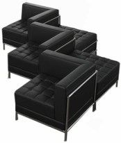 Black Tufted Modular 5-Seat Zig Zag Sofa