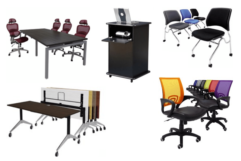 Collage of office furniture desks and chairs