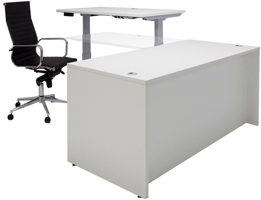 An adjustable desk L-shaped office desk with electric lift capability sold by Modern Office.