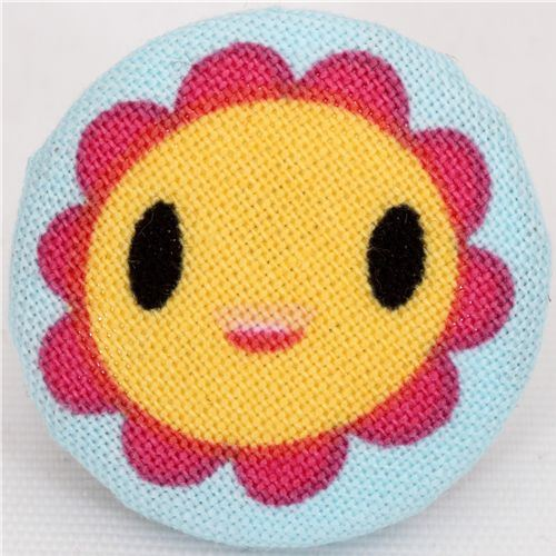 yellow laughing flower fabric button Robert Kaufman