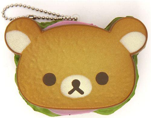 Rilakkuma bear sandwich bread squishy cellphone charm