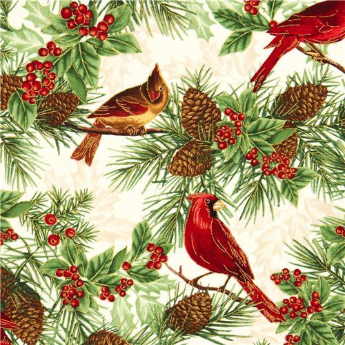 beige Timeless Treasures Christmas fabric birds fir cone