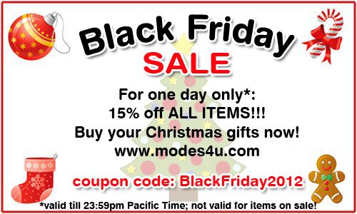 Just today! Get a 15% discount on all things on modes4u.com