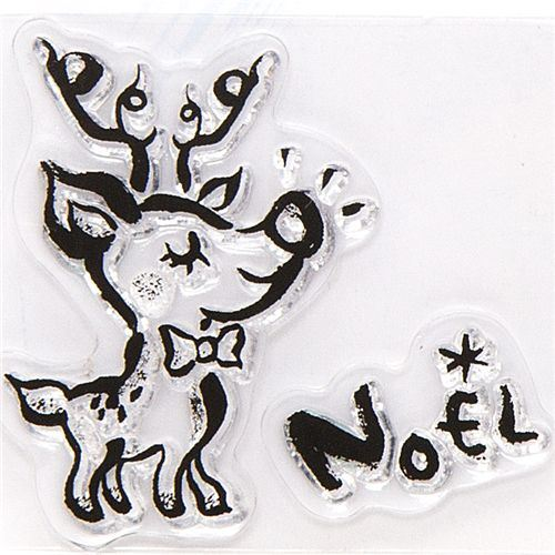 cute Christmas gel stamps reindeer Noel