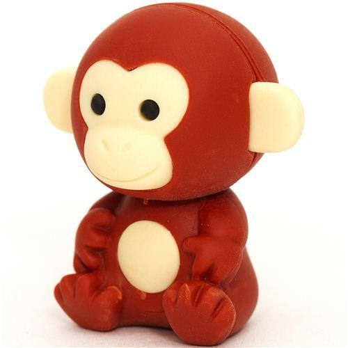 brown monkey eraser by Iwako from Japan
