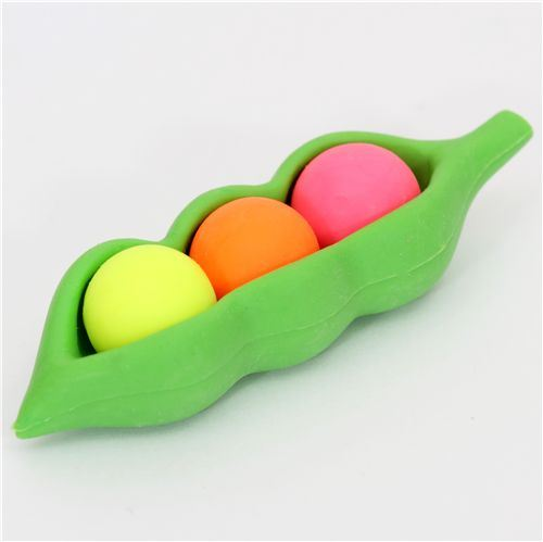 colorful green peas eraser from Japan by Iwako