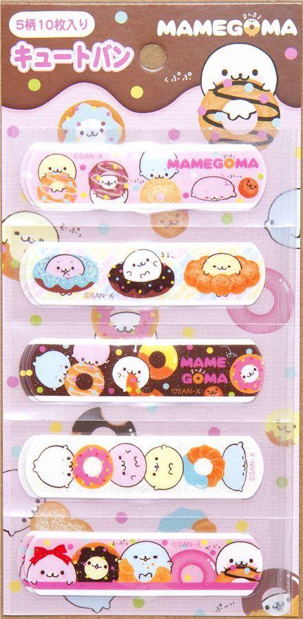 Mamegoma seals glitter Bandage Band-Aid 10 pcs donuts