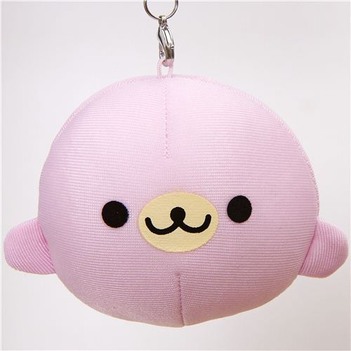 pink Mamegoma baby seal squeezable charm