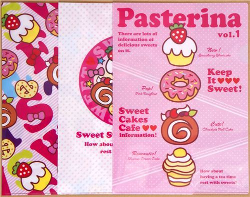 A4 plastic file folder 3pcs set with sweets donut