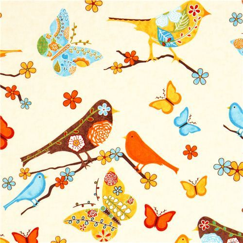beige fabric bird flower butterfly Robert Kaufman
