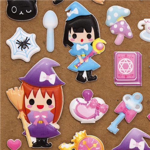 cute Halloween witch girls sponge stickers from Japan