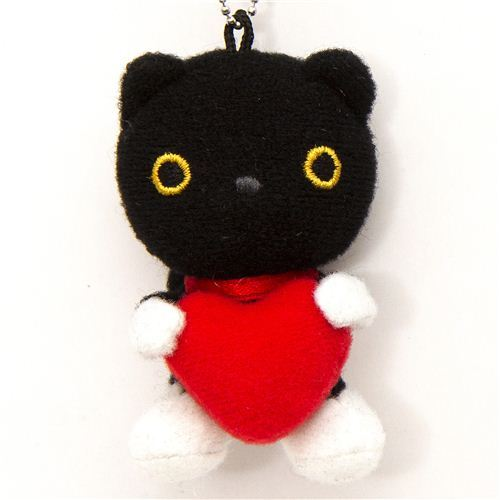 Kutusita Nyanko cat with heart plush cellphone charm