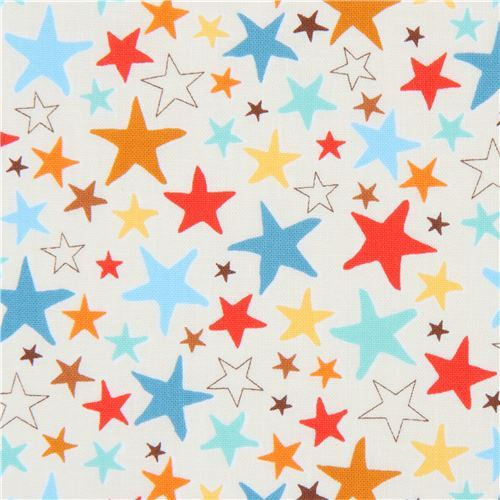cream Robert Kaufman fabric red blue orange star Monsters