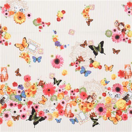 cream beige stripe Canvas fabric with animal flower Kokka Japan