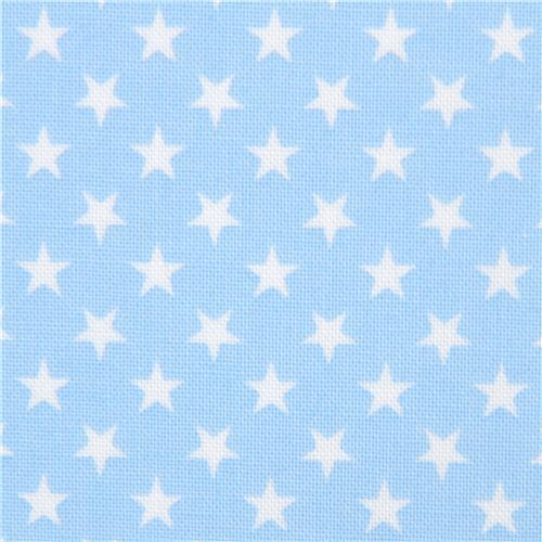 light blue Robert Kaufman mini white star fabric Sevenberry Classiques