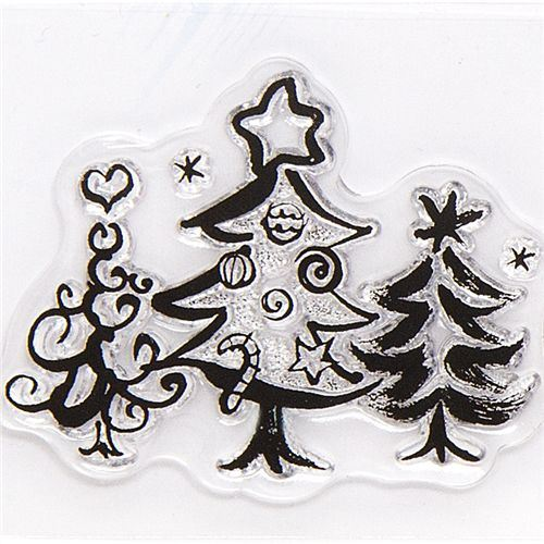 cute Christmas gel stamps Christmas tree with deco