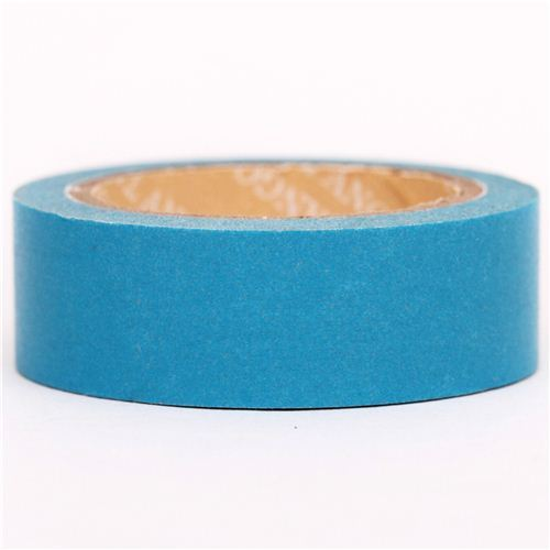 solid cyan blue Washi Masking Tape deco tape